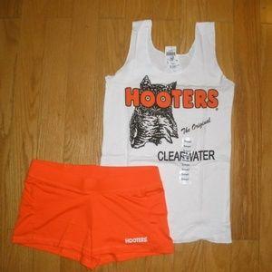 New HOOTERS girl uniform tank shorts hose socks XS